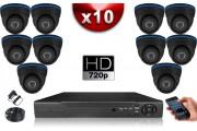 KIT ECO 10 Caméras Dômes CMOS + Enregistreur DVR 1000 Go / Pack de vidéo surveillance
