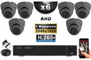 KIT PRO AHD 6 Caméras Dômes IR 20m Capteur SONY 5 MegaPixels + Enregistreur XVR 8MP H265+ 2000 Go / Pack de vidéo surveillance
