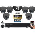 KIT PRO AHD 6 Caméras Dômes IR 35m Capteur 5 MegaPixels + Enregistreur XVR 5MP H264+ 2000 Go / Pack de vidéo surveillance