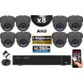 KIT PRO AHD 8 Caméras Dômes IR 35m Capteur SONY 5 MegaPixels + Enregistreur XVR 8MP H265+ 3000 Go / Pack de vidéo surveillance