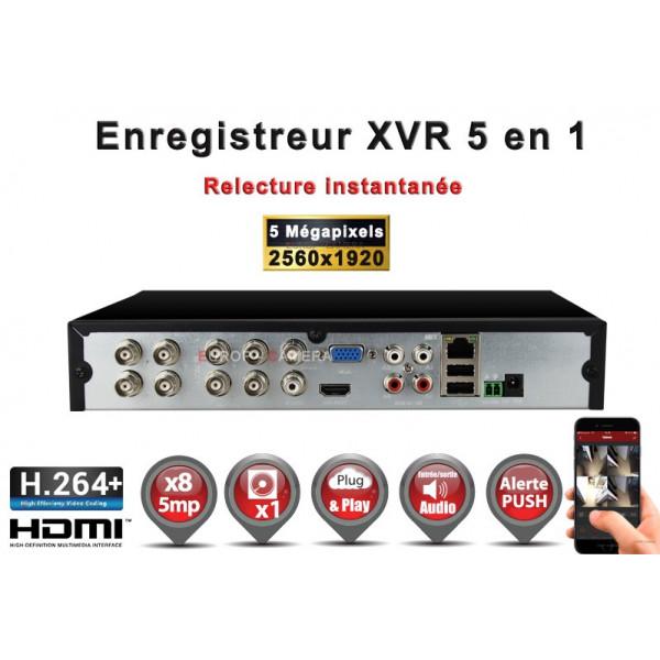 Enregistreur numérique 5 en 1 XVR AHD CVI TVI IP 8 canaux H264+ 5MP 4MP 1080P FULL HD / Ref : EC-XVRAHD81080