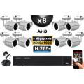 KIT PRO AHD 8 Caméras Tubes IR 30m Capteur SONY 5 MegaPixels + Enregistreur XVR 8MP H265+ 3000 Go / Pack de vidéo surveillance