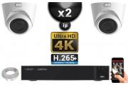Kit Vidéo Surveillance PRO IP 2x Caméras POE Dômes IR 20M Capteur SONY UHD 4K + Enregistreur NVR 12 canaux H265+ UHD 4K 2000 Go
