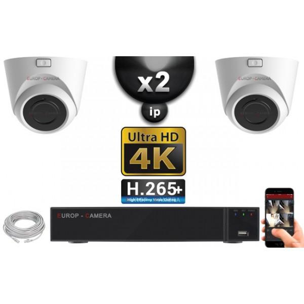 Kit Vidéo Surveillance PRO IP 2x Caméras POE Dômes IR 20M Capteur SONY UHD 4K + Enregistreur NVR 8 canaux H265+ UHD 4K 2000 Go