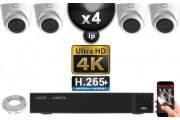 Kit Vidéo Surveillance PRO IP 4x Caméras POE Dômes IR 20M Capteur SONY UHD 4K + Enregistreur NVR 12 canaux H265+ UHD 4K 3000 Go