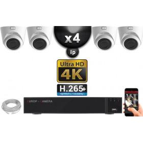 Kit Vidéo Surveillance PRO IP 4x Caméras POE Dômes IR 20M Capteur SONY UHD 4K + Enregistreur NVR 8 canaux H265+ UHD 4K 3000 Go