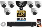 Kit Vidéo Surveillance PRO IP 6x Caméras POE Dômes IR 20M Capteur SONY UHD 4K + Enregistreur NVR 12 canaux H265+ UHD 4K 3000 Go