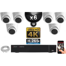 Kit Vidéo Surveillance PRO IP 6x Caméras POE Dômes IR 20M Capteur SONY UHD 4K + Enregistreur NVR 8 canaux H265+ UHD 4K 3000 Go