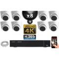 Kit Vidéo Surveillance PRO IP 8x Caméras POE Dômes IR 20M Capteur SONY UHD 4K + Enregistreur NVR 12 canaux H265+ UHD 4K 3000 Go