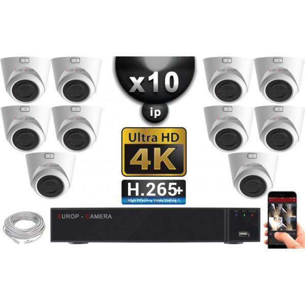 Kit Vidéo Surveillance PRO IP 10x Caméras POE Dômes IR 20M Capteur SONY UHD 4K + Enregistreur NVR 30 canaux H265+ UHD 4K 3000 Go