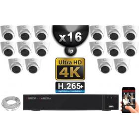 Kit Vidéo Surveillance PRO IP 16x Caméras POE Dômes IR 20M Capteur SONY UHD 4K + Enregistreur NVR 30 canaux H265+ UHD 4K 3000 Go