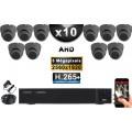 KIT PRO AHD 10 Caméras Dômes IR 20m Capteur SONY 5 MegaPixels + Enregistreur XVR 5MP H264+ 3000 Go / Pack vidéo surveillance