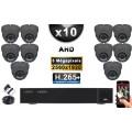 KIT PRO AHD 10 Caméras Dômes IR 35m Capteur SONY 5 MegaPixels + Enregistreur XVR 5MP H264+ 3000 Go / Pack vidéo surveillance