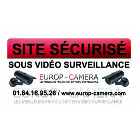 Autocollant Vinyle Site sécurisé sous Vidéo Surveillance