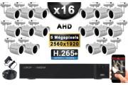 KIT PRO AHD 16 Caméras Tubes IR 30m Capteur SONY 5 MegaPixels + Enregistreur XVR 5MP H264+ 3000 Go / Pack vidéo surveillance