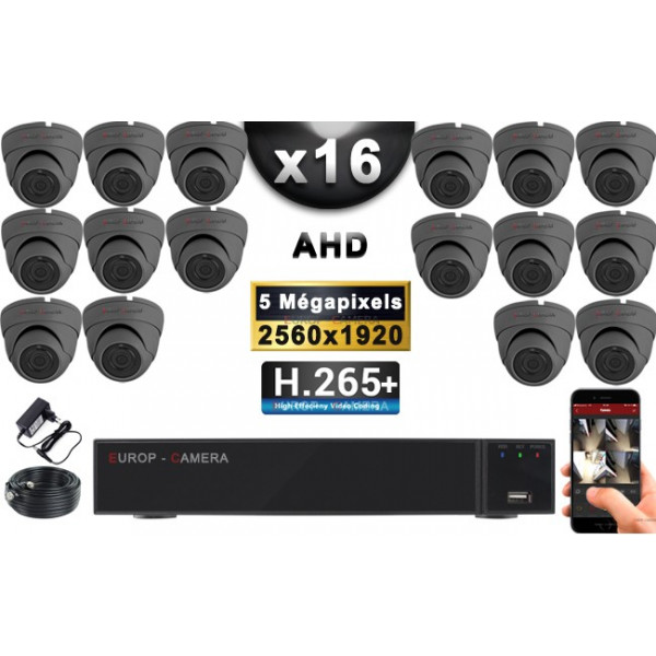 KIT PRO AHD 16 Caméras Dômes IR 20m Capteur SONY 5 MegaPixels + Enregistreur XVR 8MP H265+ 3000 Go / Pack vidéo surveillance