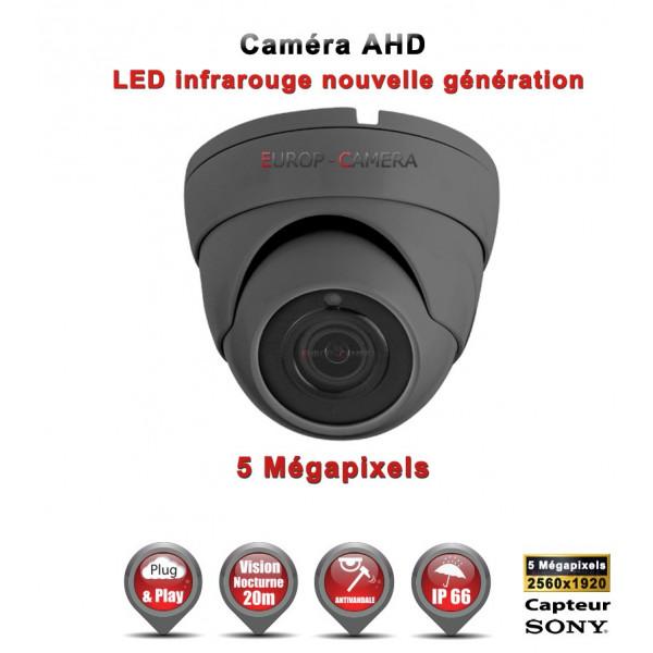 Mini Dôme AHD / CVI / TVI Capteur SONY 5 MegaPixels IR 20m étanche réf: EC-AHDD204MPS - caméra surveillance