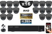 KIT PRO AHD 16 Caméras Dômes IR 35m Capteur SONY 5 MegaPixels + Enregistreur XVR 5MP H264+ 3000 Go / Pack vidéo surveillance