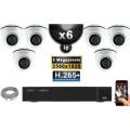 Kit Vidéo Surveillance PRO IP : 6x Caméras POE Dômes IR 20M 5 MegaPixels + Enregistreur NVR 9 canaux H265+ 2000 Go