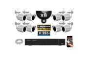 Kit Vidéo Surveillance PRO IP : 8x Caméras POE Tubes IR 30M 5 MegaPixels + Enregistreur NVR 16 canaux H265+ 3000 Go
