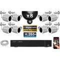 Kit Vidéo Surveillance PRO IP : 8x Caméras POE Tubes IR 30M Capteur SONY 5 MegaPixels + Enregistreur NVR 16 canaux H265+ 3000 Go
