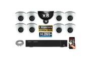 Kit Vidéo Surveillance PRO IP : 8x Caméras POE Dômes IR 20M 5 MegaPixels + Enregistreur NVR 16 canaux H265+ 3000 Go