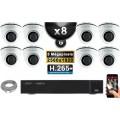 Kit Vidéo Surveillance PRO IP : 8x Caméras POE Dômes IR 20M Capteur SONY 5 MegaPixels + Enregistreur NVR 16 canaux H265+ 3000 Go