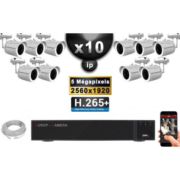 Kit Vidéo Surveillance PRO IP : 10x Caméras POE Tubes IR 30M Capteur SONY 5 MegaPixels + Enregistreur NVR 16 canaux H265+ 3000 G