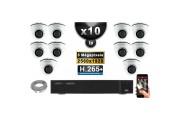 Kit Vidéo Surveillance PRO IP : 10x Caméras POE Dômes IR 20M 5 MegaPixels + Enregistreur NVR 16 canaux H265+ 3000 Go