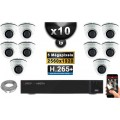 Kit Vidéo Surveillance PRO IP : 10x Caméras POE Dômes IR 20M Capteur SONY 5 MegaPixels + Enregistreur NVR 16 canaux H265+ 3000 G