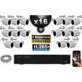Kit Vidéo Surveillance PRO IP : 16x Caméras POE Tubes IR 30M 5 MegaPixels + Enregistreur NVR 25 canaux H265+ 3000 Go