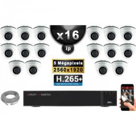 Kit Vidéo Surveillance PRO IP : 16x Caméras POE Dômes IR 20M Capteur SONY 5 MegaPixels + Enregistreur NVR 25 canaux H265+ 3000 G