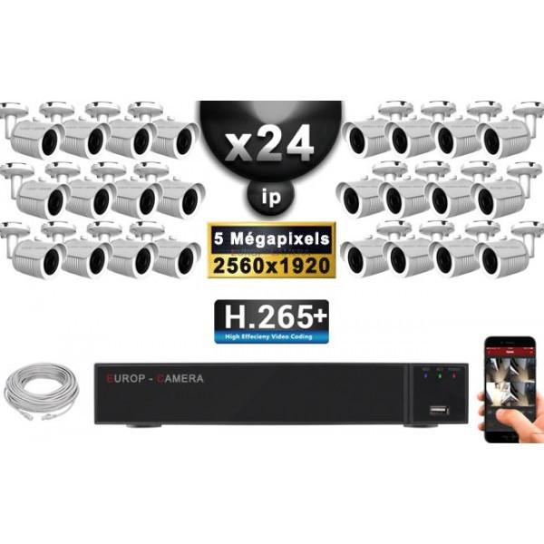 Kit Vidéo Surveillance PRO IP : 24x Caméras POE Tubes IR 30M Capteur SONY 5 MegaPixels + Enregistreur NVR 36 canaux H265+ 3000 G