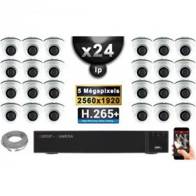 Kit Vidéo Surveillance PRO IP : 24x Caméras POE Dômes IR 20M Capteur SONY 5 MegaPixels + Enregistreur NVR 36 canaux H265+ 3000 G