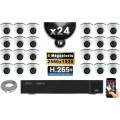 Kit Vidéo Surveillance PRO IP : 24x Caméras POE Dômes IR 20M 5 MegaPixels + Enregistreur NVR 36 canaux H265+ 3000 Go