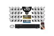 Kit Vidéo Surveillance PRO IP : 32x Caméras POE Tubes IR 30M 5 MegaPixels + Enregistreur NVR 36 canaux H265+ 3000 Go