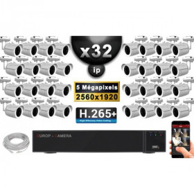 Kit Vidéo Surveillance PRO IP : 32x Caméras POE Tubes IR 30M Capteur SONY 5 MegaPixels + Enregistreur NVR 36 canaux H265+ 3000 G