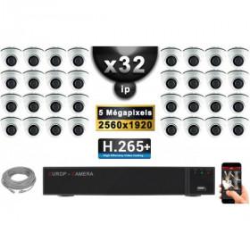Kit Vidéo Surveillance PRO IP : 32x Caméras POE Dômes IR 20M Capteur SONY 5 MegaPixels + Enregistreur NVR 36 canaux H265+ 3000 G