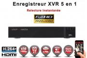 Enregistreur numérique 5 en 1 XVR AHD CVI TVI IP 16 canaux H264+ 5MP 4MP 1080P FULL HD / Ref : EC-XVRAHD161080