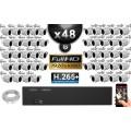Kit Vidéo Surveillance PRO IP : 48x Caméras Tubes IR 30M Capteur SONY 1080P + Enregistreur NVR 64 canaux H265+ 3000 Go