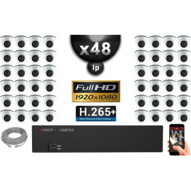 Kit Vidéo Surveillance PRO IP : 48x Caméras Dômes IR 20M Capteur SONY 1080P + Enregistreur NVR 64 canaux H265+ 3000 Go