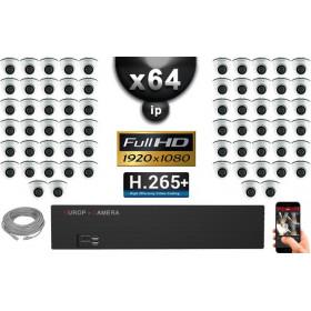 Kit Vidéo Surveillance PRO IP : 64x Caméras Dômes IR 20M Capteur SONY 1080P + Enregistreur NVR 64 canaux H265+ 3000 Go