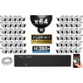 Kit Vidéo Surveillance PRO IP : 64x Caméras Tubes IR 30M Capteur SONY 1080P + Enregistreur NVR 64 canaux H265+ 3000 Go