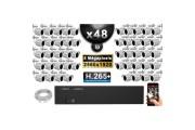 Kit Vidéo Surveillance PRO IP : 48x Caméras Tubes IR 30M 5 MegaPixels + Enregistreur NVR 58 canaux H265+ 3000 Go
