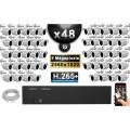 Kit Vidéo Surveillance PRO IP : 48x Caméras Tubes IR 30M Capteur SONY 5 MegaPixels + Enregistreur NVR 58 canaux H265+ 3000 Go