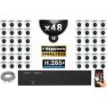 Kit Vidéo Surveillance PRO IP : 48x Caméras Dômes IR 20M 5 MegaPixels + Enregistreur NVR 58 canaux H265+ 3000 Go