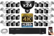 Kit Vidéo Surveillance PRO IP 24x Caméras POE Tubes IR 30M Capteur SONY UHD 4K + Enregistreur NVR 30 canaux H265+ UHD 4K 3000 Go