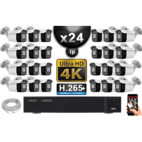 Kit Vidéo Surveillance PRO IP 24x Caméras POE Tubes IR 40M Capteur SONY UHD 4K + Enregistreur NVR 30 canaux H265+ UHD 4K 3000 Go