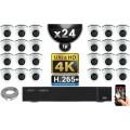 Kit Vidéo Surveillance PRO IP 24x Caméras POE Dômes IR 20M Capteur SONY UHD 4K + Enregistreur NVR 30 canaux H265+ UHD 4K 3000 Go