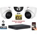 KIT PRO CVI 2 Caméras Dômes IR 50m 8 MegaPixels UHD 4K + Enregistreur CVI 8MP H264+ 1000 Go / Pack de vidéo surveillance